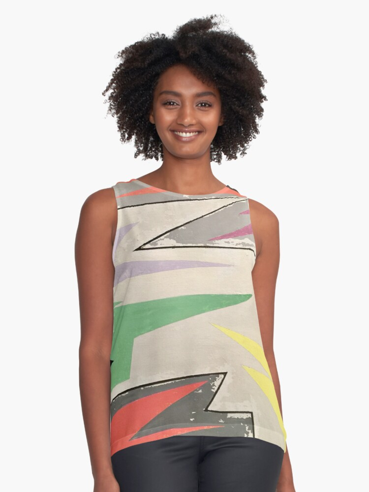 Abstract Art: Zig Zag Flag Contrast Tank Front