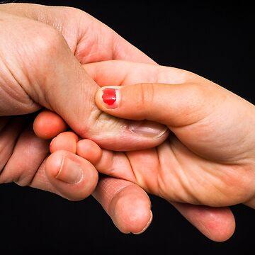 Child and parent holding hands by ArveBettum