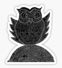 Frizzy-curly owl in black and white on pale background Sticker