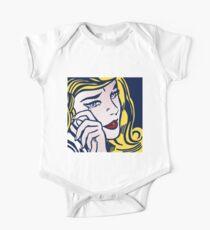 Crying Girl, Homage to Roy Lichtenstein One Piece - Short Sleeve