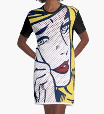 Crying Girl, Homage to Roy Lichtenstein Graphic T-Shirt Dress