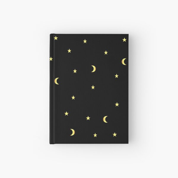 Gold Moon and Stars Hardcover Journal