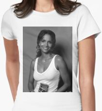 Halle berry black and white Women's Fitted T-Shirt