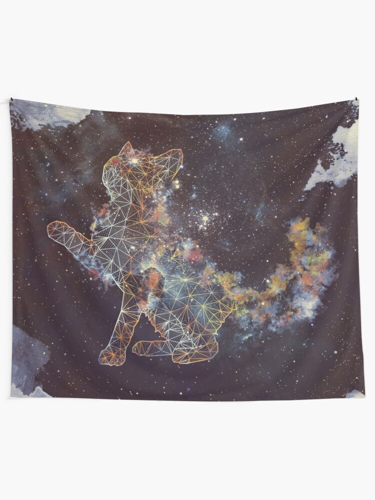 Alternate view of Celestial Cat  Tapestry