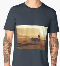 Typical Rural Icelandic Church at Sea Coastline Men's Premium T-Shirt