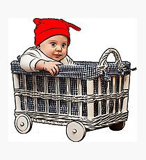 adorable beautiful baby boy in a basket Photographic Print