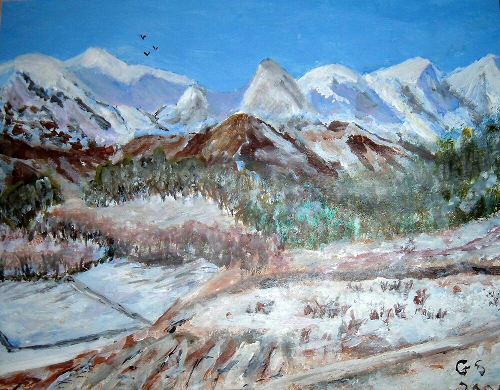 Mountains in winter by GEORGE SANDERSON