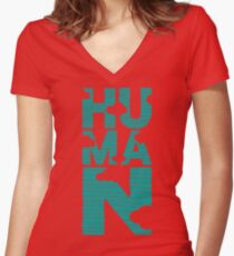 HUMAN (marrs green) Women's Fitted V-Neck T-Shirt