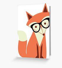 Hipster Fox Wearing Glasses Greeting Card