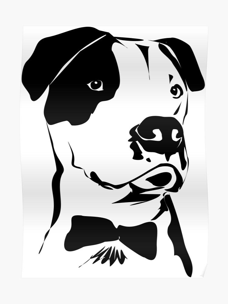 Lindo Pit Bull Dibujo En Blanco Y Negro Con Una Pajarita Póster