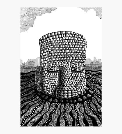 214 - STONE HEAD - INK - 2007 Photographic Print