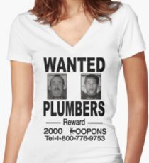 Wanted! Plumbers! Women's Fitted V-Neck T-Shirt