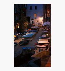 Cinque Terre Boats at Night Photographic Print