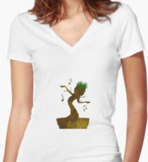 Tree Inspired Silhouette Women's Fitted V-Neck T-Shirt