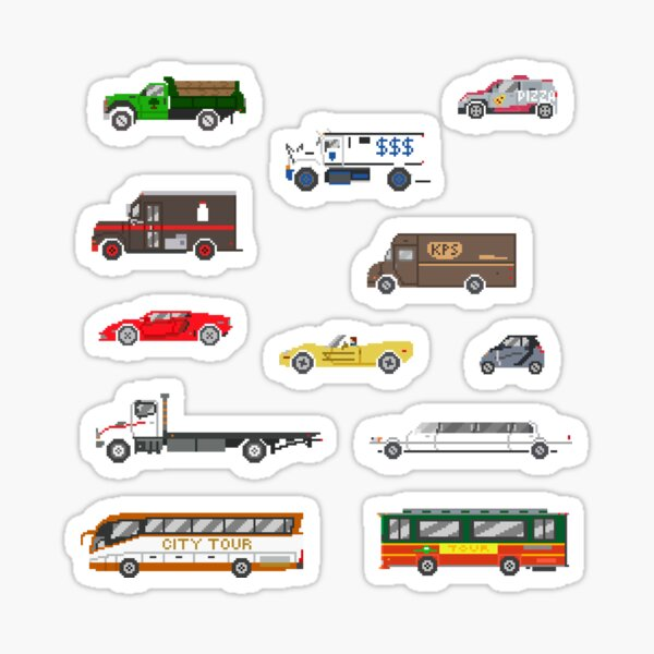 Street Vehicles 2 - The Kids' Picture Show - Pixel Art Sticker