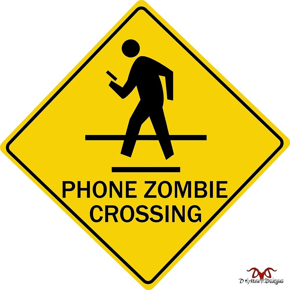 Phone Zombie Crosswalk Sign by d-mondesigns