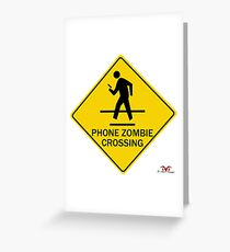 Phone Zombie Crosswalk Sign Greeting Card