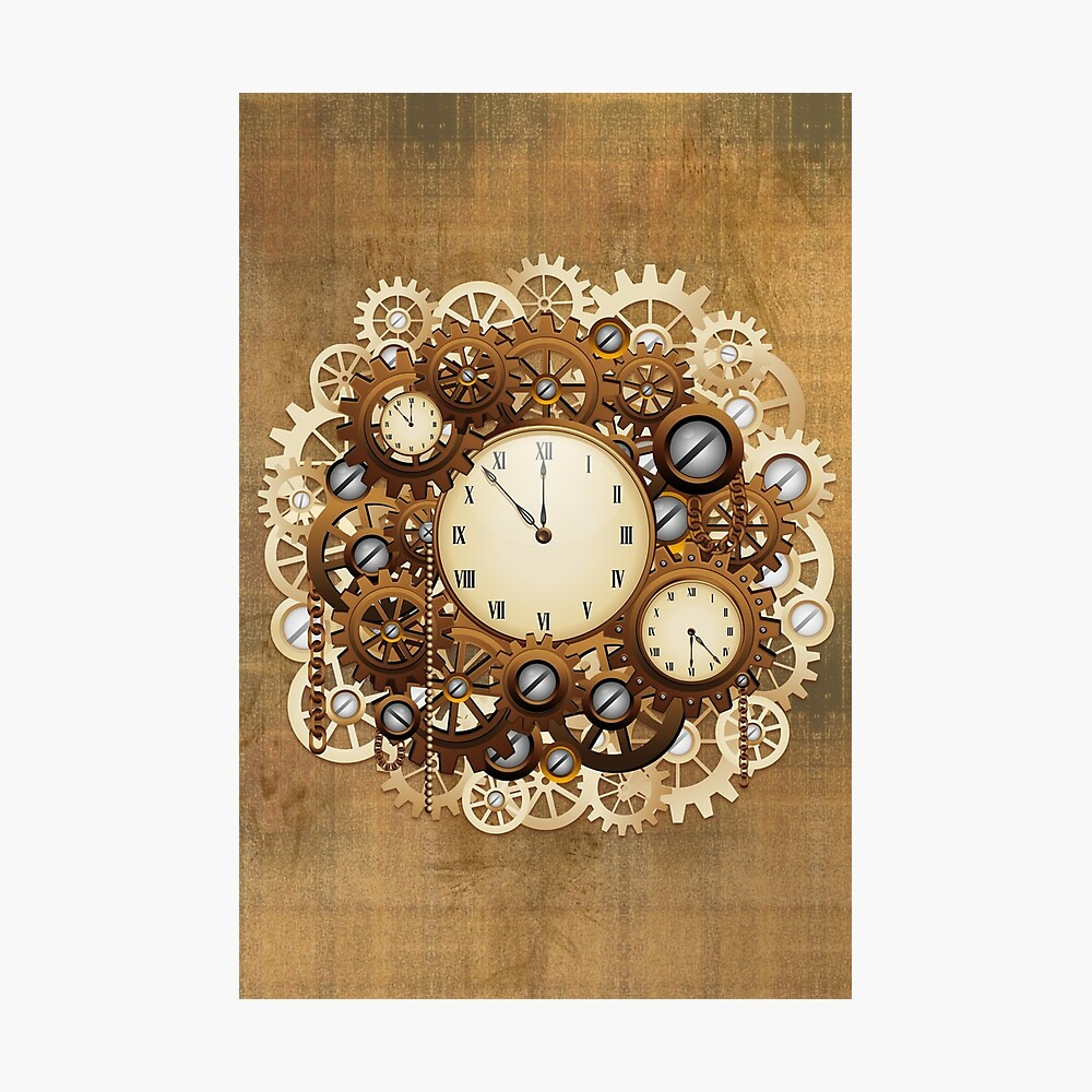 Steampunk Clocks and Gears Vintage Style  Photographic Print
