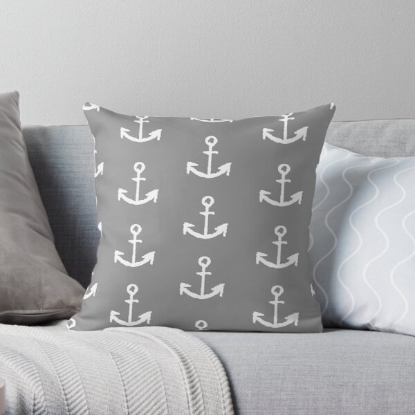 Anchors - Gray with White Throw Pillow