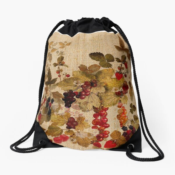 French Cretonne with Forest Fruits Pattern Drawstring Bag