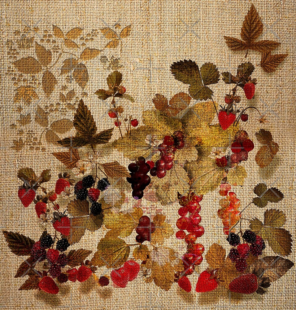 French Cretonne with Forest Fruits Pattern by PrivateVices