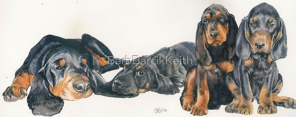 Black & Tan Coonhound Puppies by BarbBarcikKeith