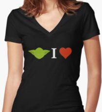 Yoda I Love (black) Women's Fitted V-Neck T-Shirt