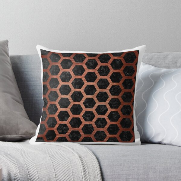 HEXAGON2 BLACK MARBLE AND COPPER BRUSHED METAL Throw Pillow