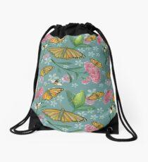 Milkweed and butterflies Drawstring Bag