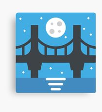 Moonrise Night-Time Bridge Landscape (Minimalist Art) Canvas Print