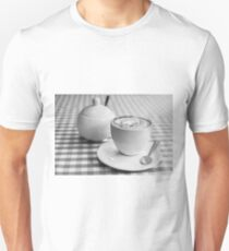 Morning cup of coffee in black and white Unisex T-Shirt