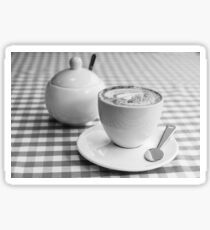 Morning cup of coffee in black and white Sticker