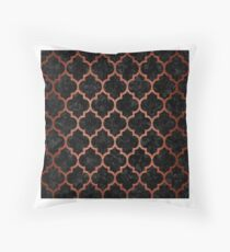 TILE1 BLACK MARBLE AND COPPER BRUSHED METAL Throw Pillow