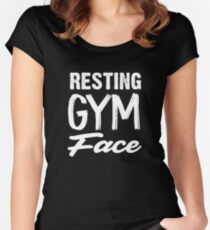 Resting Gym Face Muscle Tee funny workout tank, gym shirt, yoga, funny shirt, workout shirt, mauve  Women's Fitted Scoop T-Shirt