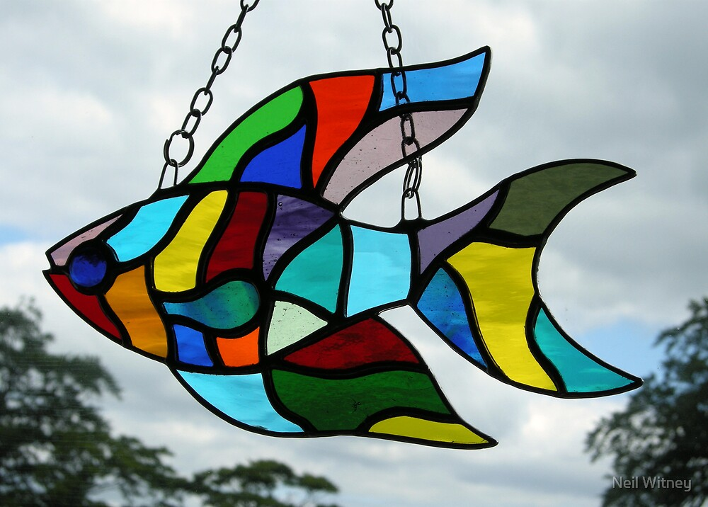 Stained glass fish by neil witney redbubble for Stained glass fish