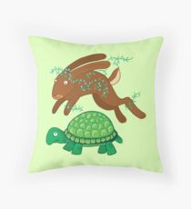 the hare and the tortoise Throw Pillow