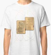 Fortuna Suisse Minted Gold Bar - Obverse and Reverse over White LeatherFortuna Suisse Minted Gold Bar - Obverse and Reverse over White Leather Classic T-Shirt