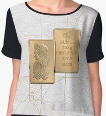 Fortuna Suisse Minted Gold Bar - Obverse and Reverse over White LeatherFortuna Suisse Minted Gold Bar - Obverse and Reverse over White Leather Women's Chiffon Top