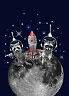 Trash Pandas in Space Raccoons on Moon by heARTcart