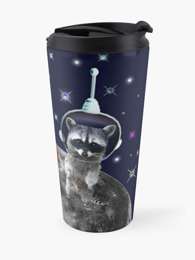 Alternate view of Trash Pandas in Space Raccoons on Moon Travel Mug