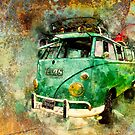 Beachy Rat Rod Surf Bus Watercolour by ChasSinklier