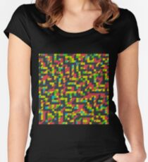 Abstract Polygon Multi Color Low Poly Triangle Quilt - Implied Shadows Women's Fitted Scoop T-Shirt