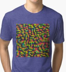 Abstract Polygon Multi Color Low Poly Triangle Quilt - Implied Shadows Tri-blend T-Shirt