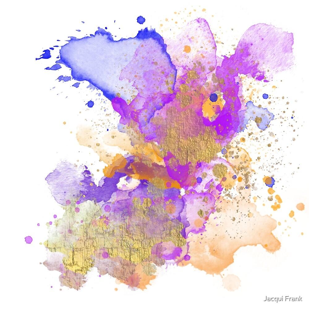Abstraktes Aquarell - Purpur und Orange von Jacqui Frank