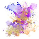 Abstract Watercolour - Purple and Orange by Jacqui Frank