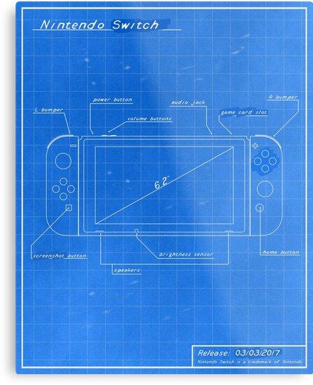 'Nintendo Switch Blueprint' Metal Print by RockSoft