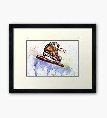 Watercolor Ice Skate Framed Print