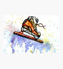 Watercolor Ice Skate Photographic Print