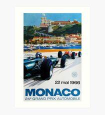 Gran Prix de Monaco, 1966, original vintage poster Art Print