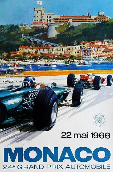 Gran Prix de Monaco, 1966, originales Vintage-Plakat von Alma-Studio